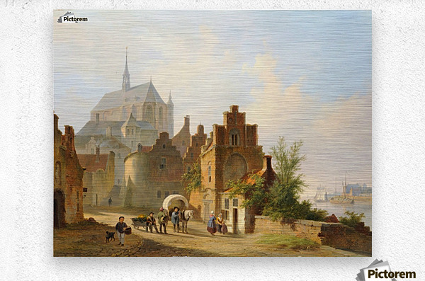 Continental Town Scene with Figures beside a Horse and Cart in a Sunlit Street  Metal print