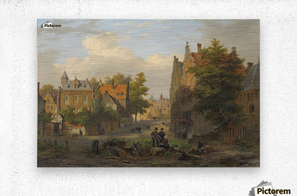 View of a town with figures in conversation  Metal print