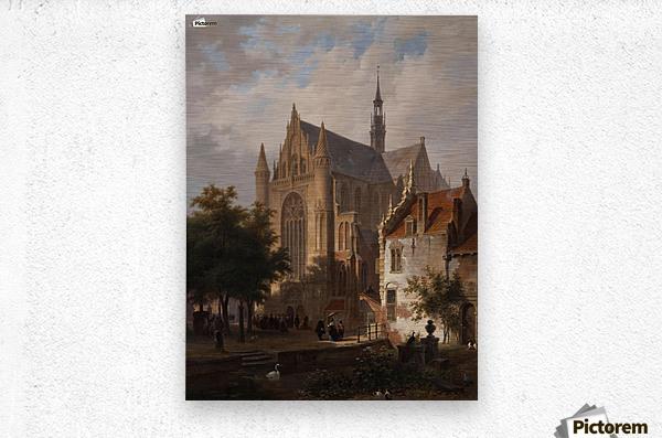 Het uitgaan van de kerk in Leiden  Metal print