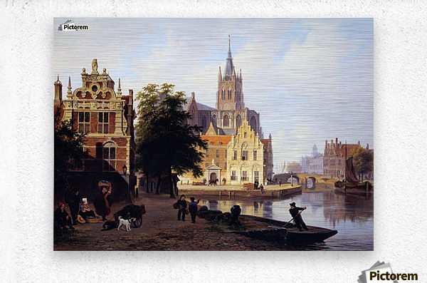 City view with canal Sun  Metal print