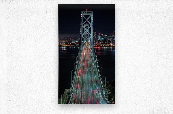 Oakland - San Francisco Bay Bridge at Night  Metal print