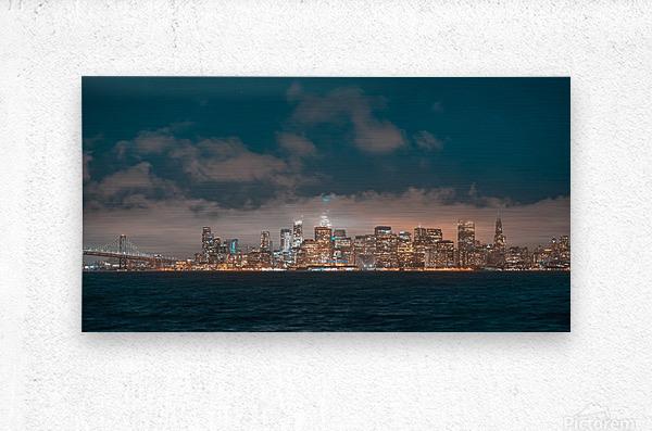 Cloudy San Francisco Night Skyline  Metal print