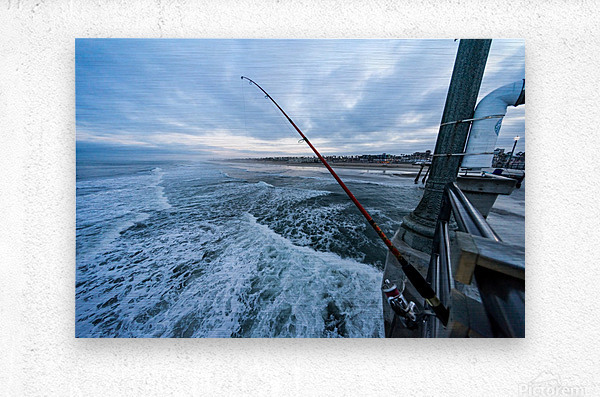 Fishing in Huntington Beach  Metal print
