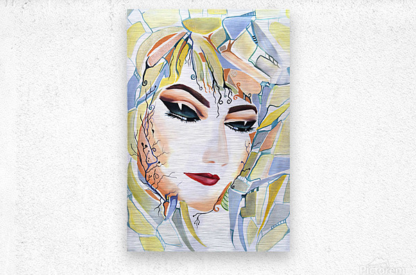 Chic Artistic Feminine Portrait  Metal print
