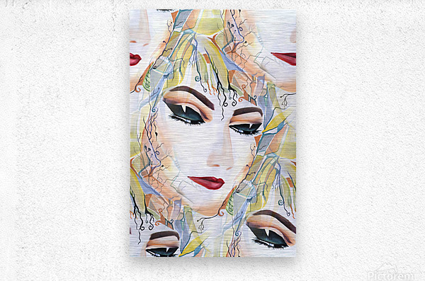 Mysterious Female in Seamless Pattern  Metal print