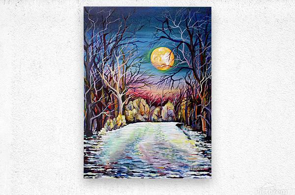 Winter Full Moon Night Landscape Watercolor  Metal print
