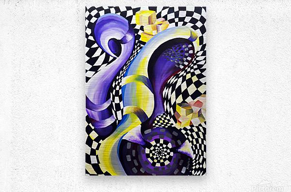 80s Geometric Abstract Watercolor  Metal print