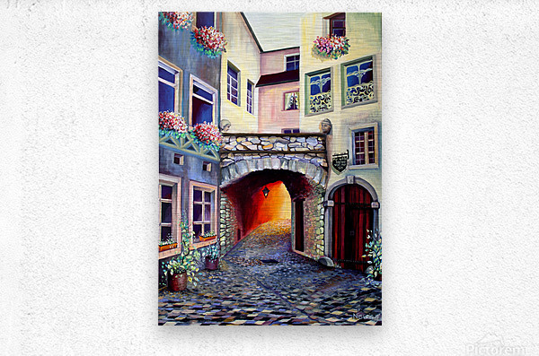 Brussels Cityscape Bohemian Painting  Metal print