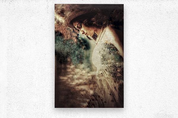 Girl by the Ocean  Metal print