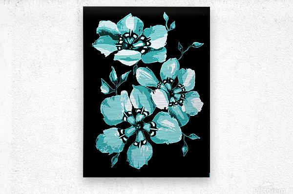 Harmonious Artdeco Floral Pattern   Metal print