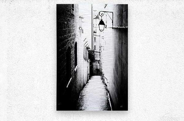 a very narrow street in Paris  Metal print