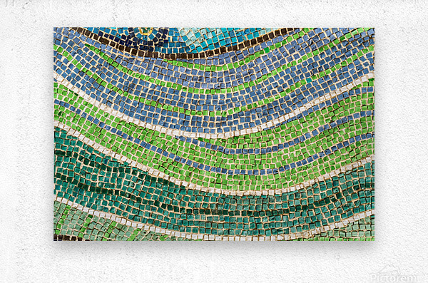 Tessellated Abstracts and Impressions - Free Form Meadows and Flowerbeds in Green and Blue  Metal print