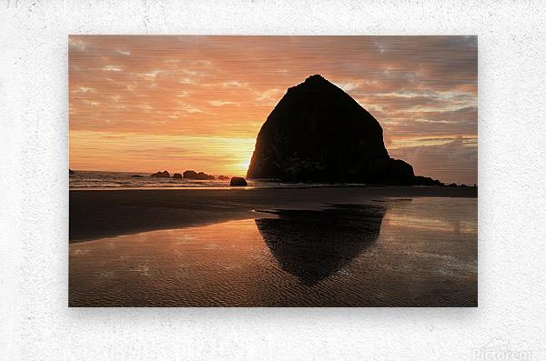 Haystack Rock at Sunset  Metal print
