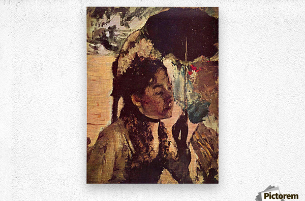 In the Tuileries - Woman with Parasol by Degas  Metal print