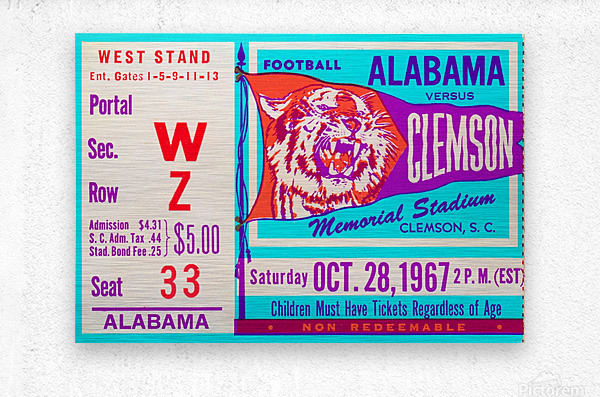 1967 Alabama vs. Clemson  Metal print