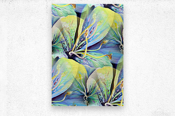 Blooming flowers Seamless Pattern  Metal print