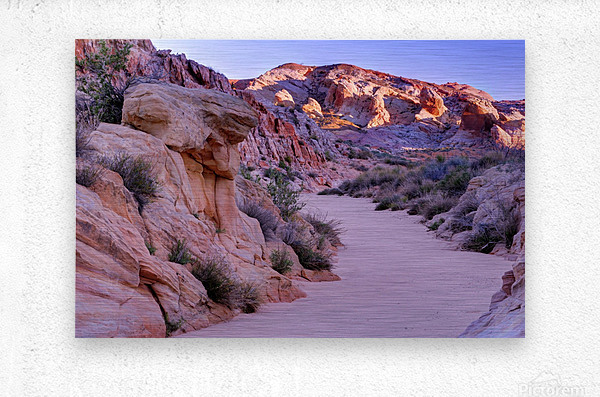 Sunrise over Valley of Fire Wash - Nevada  Metal print