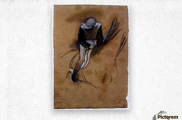 Jockey forward flexed standing in the saddle by Degas  Metal print