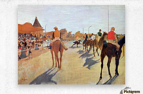 Jockeys in front of the grandstand by Degas  Metal print