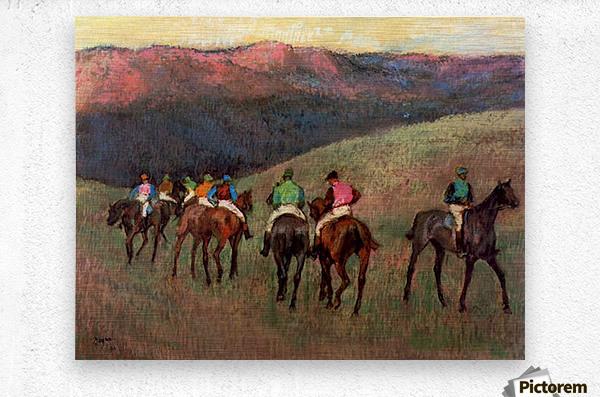 Jockeys in Training by Degas  Metal print