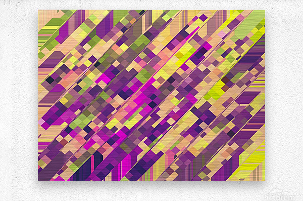 geometric square pixel pattern abstract background in pink purple green  Metal print