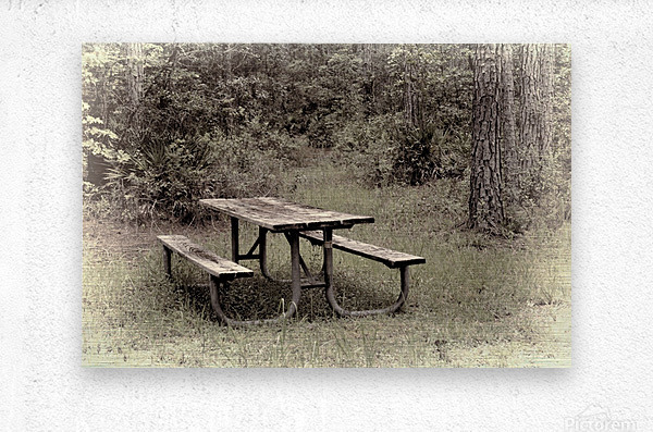 A_Lonely_Table  Metal print