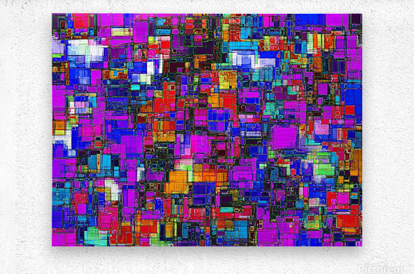 geometric square shape pattern abstract background in pink blue orange  Metal print