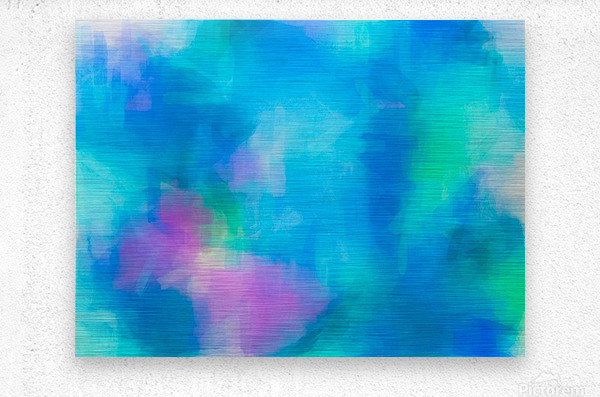 splash painting texture abstract background in blue and pink  Metal print