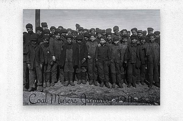 Coal Miners January 1911  Metal print