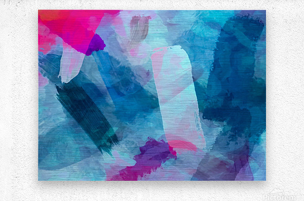 splash painting texture abstract background in blue pink  Metal print