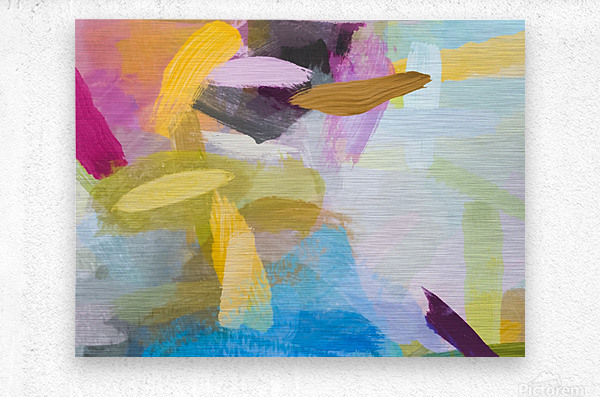 splash painting texture abstract background in yellow blue pink  Metal print