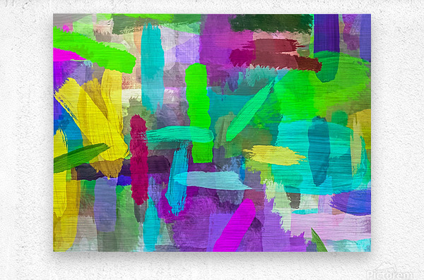 splash brush painting texture abstract background in green blue pink purple  Metal print