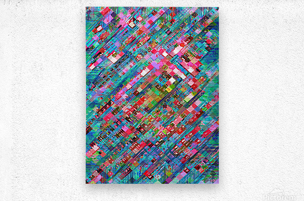 geometric square pixel pattern abstract background in blue pink  Metal print