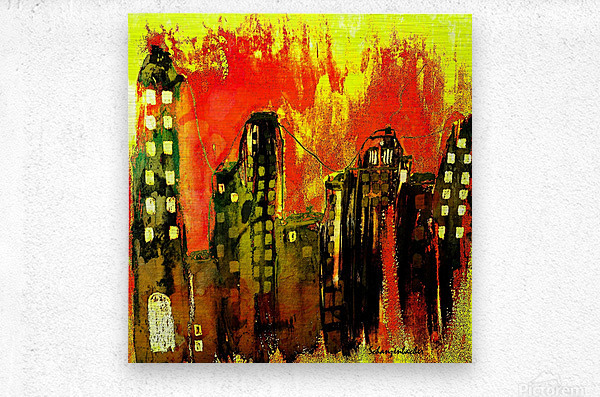 City on fire  Metal print