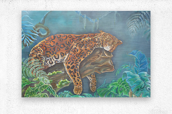 Gorgeous leopard resting in the jungle during the day  Metal print