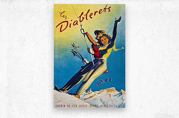 Skiing on Les Diablerets  Metal print