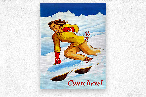 Skiing in Courchevel  Metal print