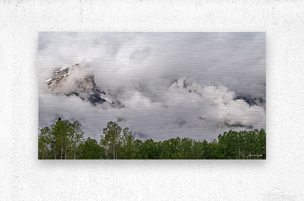 Billowy Clouds Surround Rundle Mountain  Metal print