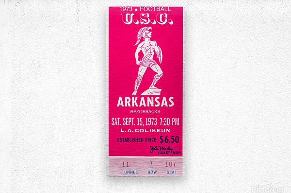 1973 usc trojans arkansas college football ticket stub art  Metal print
