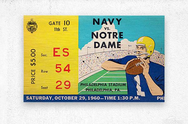 1960 navy notre dame ticket stub canvas  Metal print