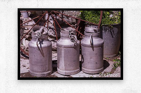 rustic milk cans  Metal print