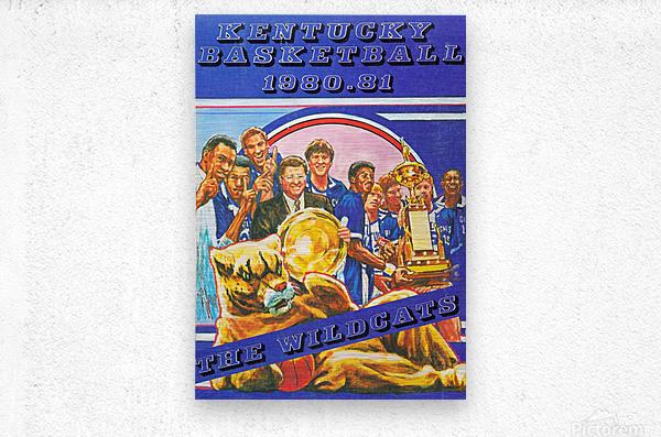 1980 kentucky wildcats basketball poster ted watts sports artist  Metal print