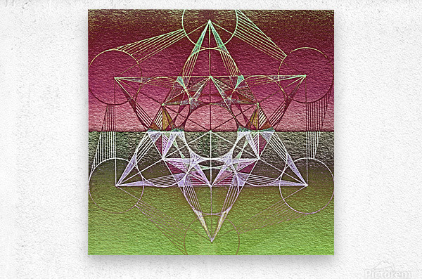 Cube of Metatron Red Green  Metal print