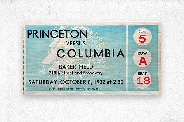 1934 Princeton vs. Columbia Lions Football Ticket Wall Art  Metal print