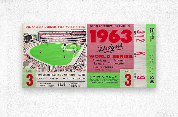 1963 world series ticket stub art la dodgers home decor  Metal print