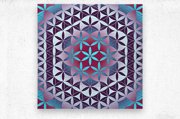 Flower of Life Hexagon Pattern  Metal print