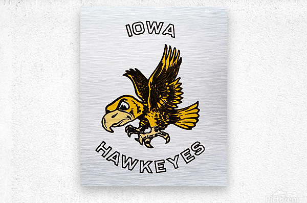 Vintage Iowa Hawkeyes Art  Metal print