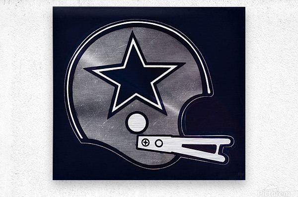 vintage dallas cowboys nfl helmet art  Metal print