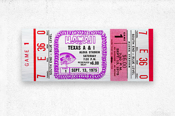 1975_College_Football_Texas A&I vs. Hawaii_Aloha Stadium  Metal print
