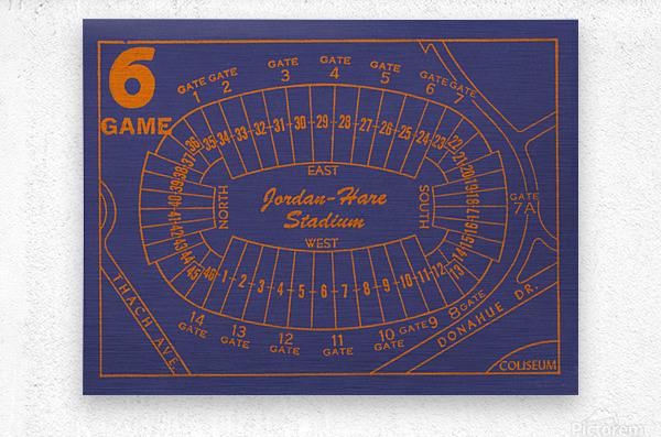 1979 Auburn Tigers Jordan Hare Stadium Map  Metal print